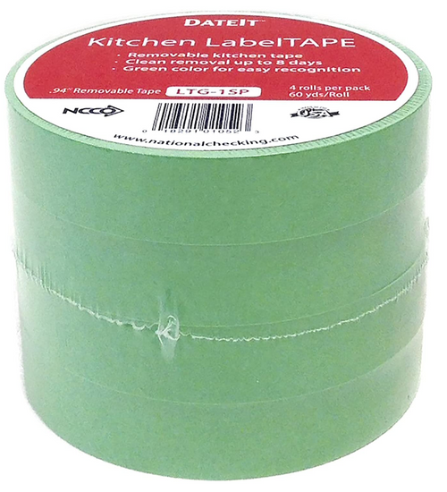 "NCCO LTG-1SP 1""x60yd Green Kitchen Labeling Tape, Removable (4/Pack)"