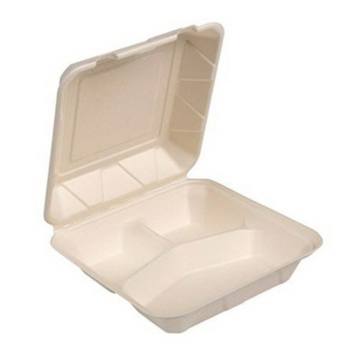"9x9x3"" 3 Compartment White Sugarcane Fiber Hinged To Go Container (200/Case)"
