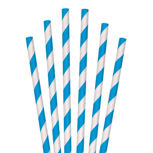 "Aardvark 7.75"" Jumbo Process Blue Stripe Paper Straw (8/600/Case)"