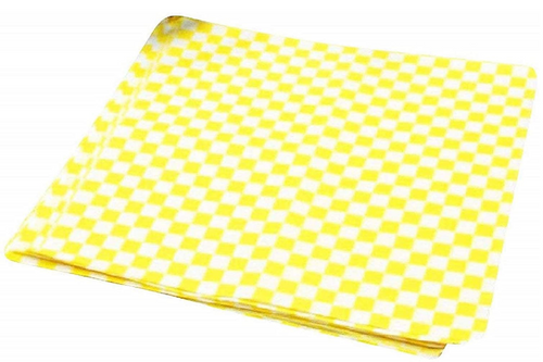"12x12"" Yellow Checker Grease Resistant Sandwich Wrap, 5 Packs of 1000, (5000/Case)"