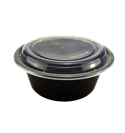 40 oz Round Deep Black Base Container w/ Clear Lid (150/Case)