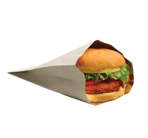 "5.25x2x7"" White Insulated Foil Burger Bag (500/Case)"