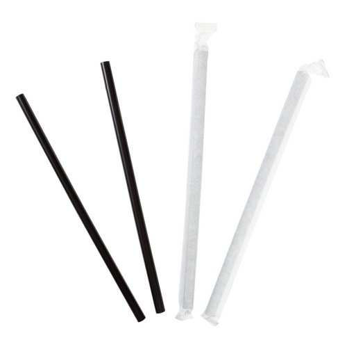 """7.75"""" Wrapped Giant Black Plastic Straw, 10 Boxes of 300 (3000/Case)"""
