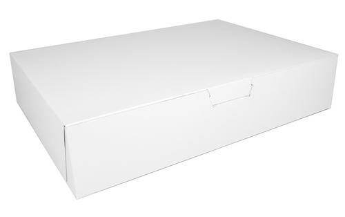 "20x14.5x4"" White Half Sheet One Piece Bakery Cake Box (50/Bundle)"