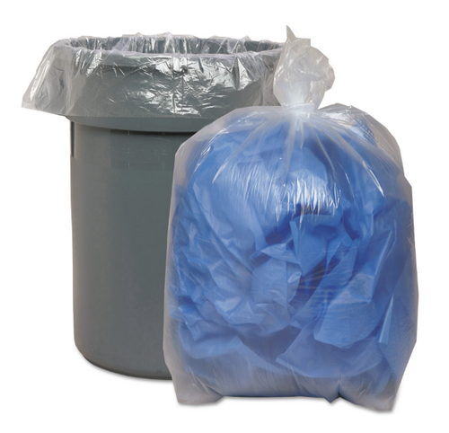 """45 Gallon 40x46"""" Clear 1.5 Mil Super Hexene Trash Can Liners (5/20/Case)"""
