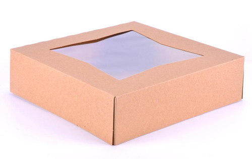"9x9x2.5"" Natural Kraft Automatic Window Bakery Box (200/Case)"