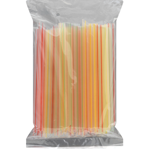 """8""""x12mm Wrapped Colossal Boba Straws Mixed Stripes (10/50/Case)"""