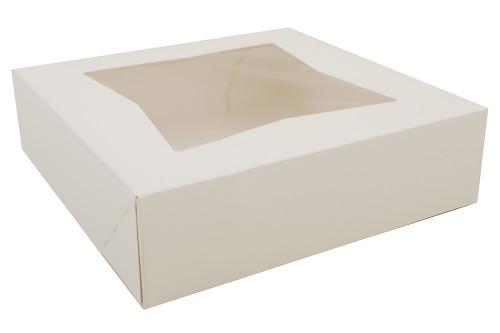 "9x9x2.5"" White Automatic Window Bakery Cake Box (200/Case)"