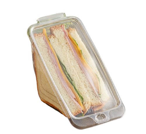 Button Lock Tamper Evident RPET Clear Sandwich Wedge Container, 5/50 (250/Case)