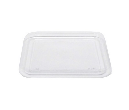 """6x6"""" 4 Compartment Clear RPET Snack Box Container & Lid (4/75/Case)"""