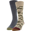 Men's Recycled Camo Lodge Sustainable Crew Socks, 2 Pairs (Taupe Marl/Charcoal)
