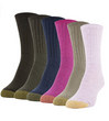 Women's Casual Ribbed Crew Socks, 6 Pairs (Pink Pearl, Taupe Marl, Fuchsia, Teal, Military Olive, Truffle Brown)