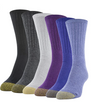 Women's Casual Ribbed Crew Socks, 6 Pairs (Dusty Blue, Royal, Grape, Vapor Blue, Heather Dark Grey, Black)