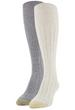 Gold Toe Women's Eco Tuckstitch Knee Highs, 2 Pairs (Oatmeal, Grey)