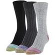 Women's Ribbed Crew Socks, 3 Pairs (Hot Pink, Royal, Jade)