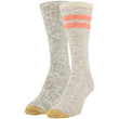 Women's Recycled Cable Stripe Crew Socks, 2 Pairs (Oatmeal, Olive)