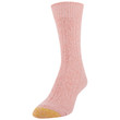 Women's Recycled Soft Cable Crew Socks, 2 Pairs (Bright Coral, Khaki Marl)