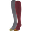 Women's Knee High Socks, 2 Pairs (Cabernet, Charcoal)