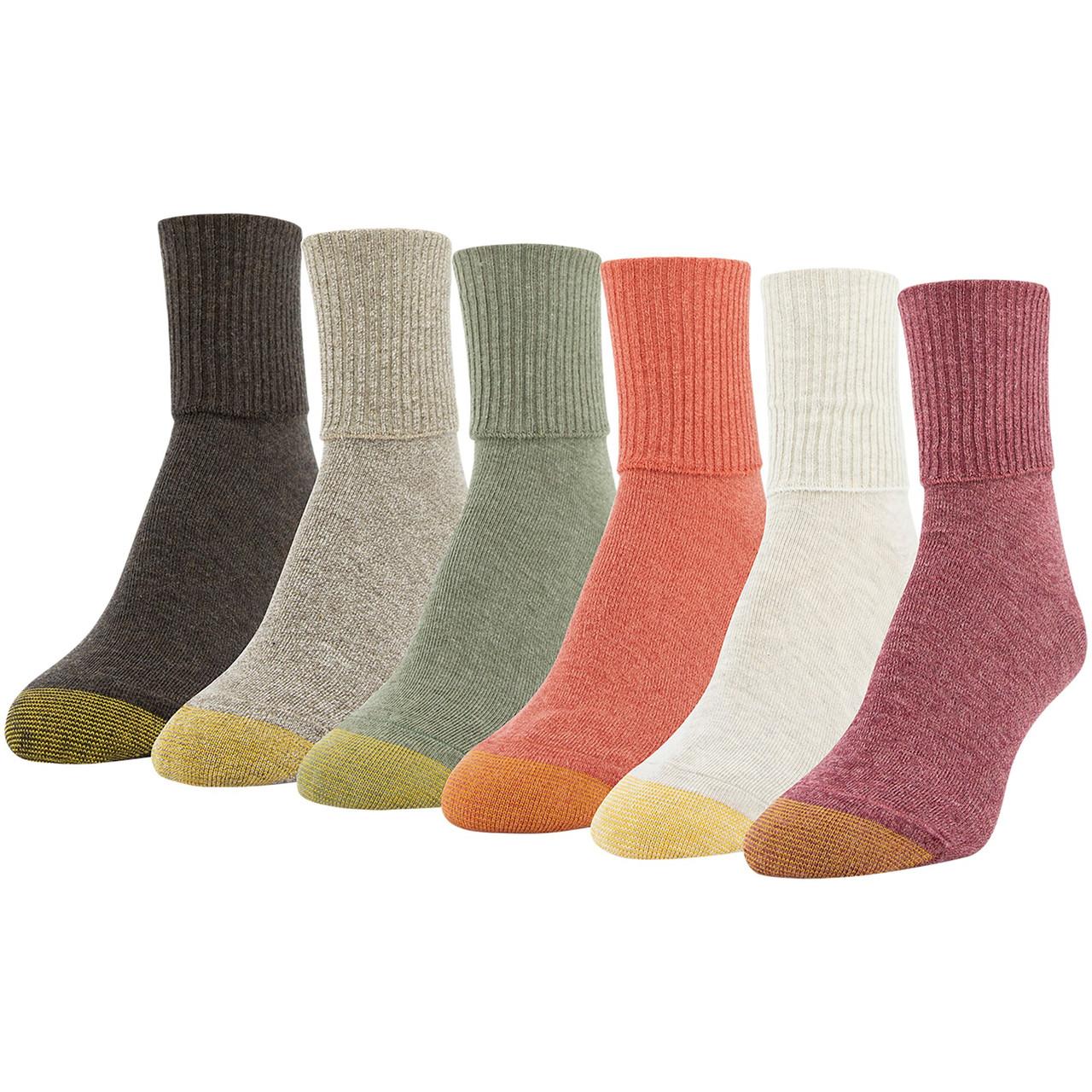 Gold Toe Womens Six-Pack Turn Cuff Socks