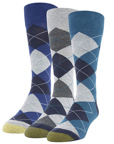 Men's Carlyle Argyle Crew Socks, 3 Pairs (Dark Turquoise/Cement/Heather Blue)