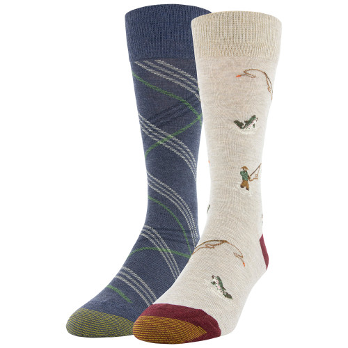 Men's Fly Fisherman/Simple Plaid Dress Crew Socks, 2 Pairs (Fly Fisherman/Simple Plaid)