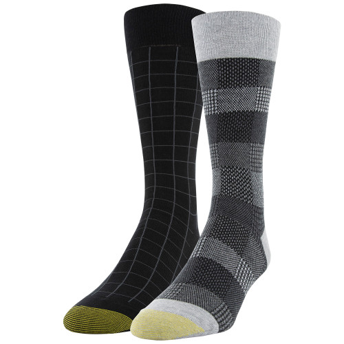 Men's Plaid Stripe/Window Pane Dress Crew Socks, 2 Pairs (Plaid Stripe/Window Pane)