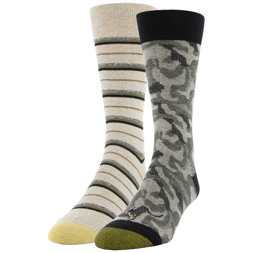 Men's Camo/Marl Stripe Dress Crew Socks, 2 Pairs (Camo/Marl Stripe)