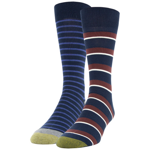 Men's Pique Stripe/Rugby Stripe Dress Crew Socks, 2 Pairs (Pique Stripe/Rugby Stripe)