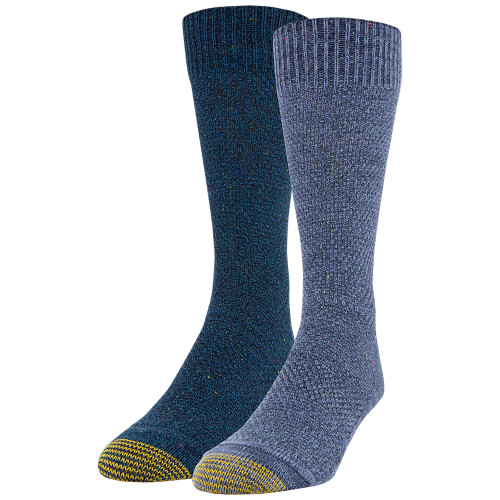 Men's Heavy Nep Pique Lodge Sustainable Crew Socks, 2 Pairs (Navy Marl/Dark Turquoise)