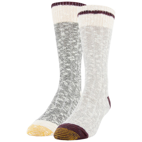 Men's Chunky Slub Lodge Sustainable Crew Socks, 2 Pairs (Light Grey/Black Marl)