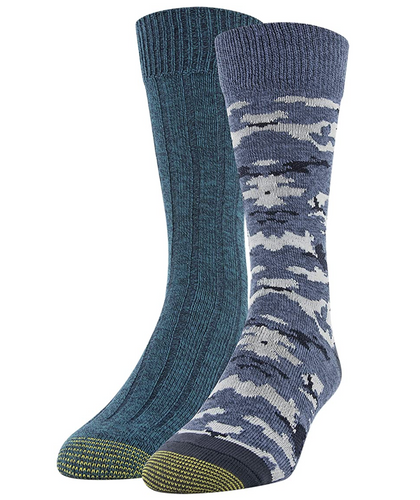 Men's Recycled Camo Lodge Sustainable Crew Socks, 2 Pairs (Indigo Blue/Dark Turquoise)