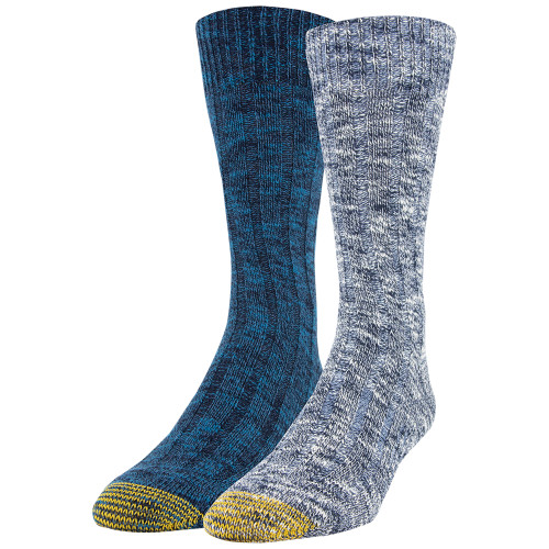 Men's Slub Mix Lodge Sustainable Crew Socks, 2 Pairs (Indigo Blue/Dark Turquoise)