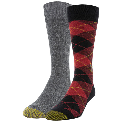 Men's Deer Plaid/Ribbed Dress Crew Socks, 2 Pairs (Deer Plaid/Ribbed)