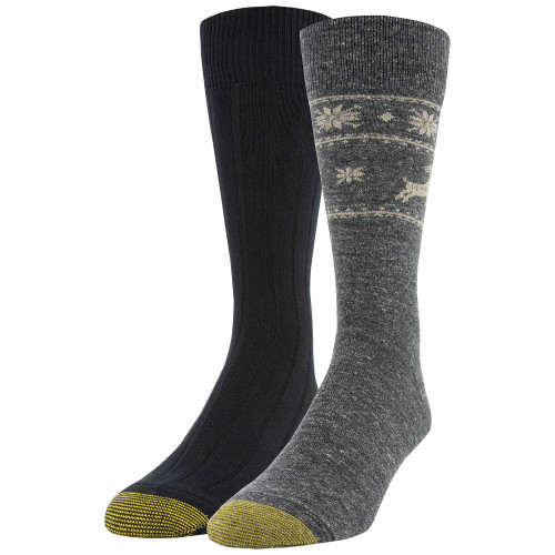 Men's Deer Border/Ribbed Dress Crew Socks, 2 Pairs (Deer Border/Ribbed)