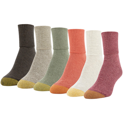 Women's Classic Turn Cuff Socks, 6 Pairs (Sangria, Oatmeal Heather, Bright Coral, Olive Heather, Bark Heather, Espresso)