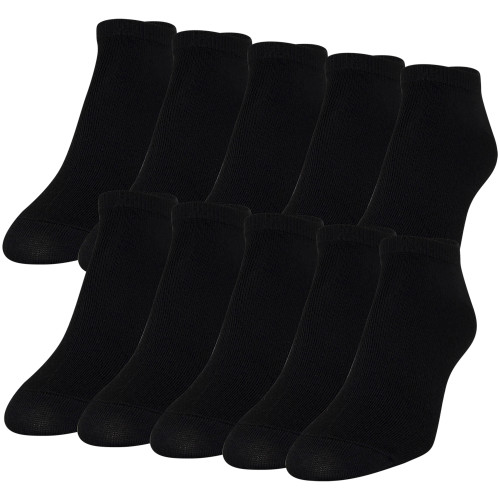 Women's Lightweight No Show Socks, 10 Pairs (Black)