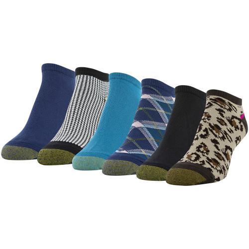 Women's Liner Socks, 6 Pairs (Chocolate, Black, Peacoat, Teal, Black/White, Peacoat)