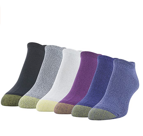 Women's Casual Ultra Soft No Show Socks, 6 Pairs (Dusty Blue, Royal, Grape, Vapor Blue, Charcoal, Black)
