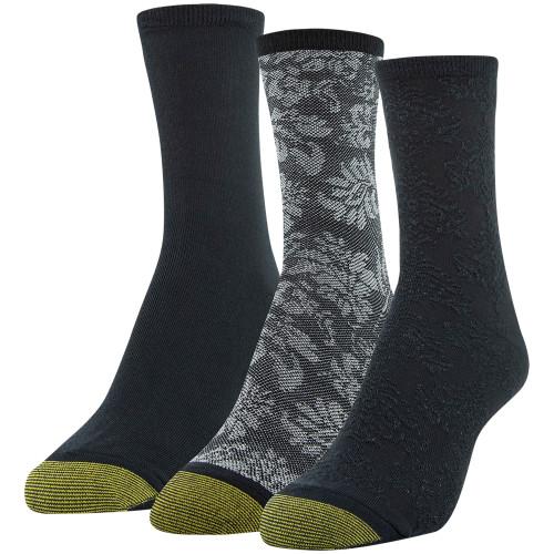 Gold Toe Women's Midi Crew Socks, 3 Pairs (Black Texture, Black Floral, Black)
