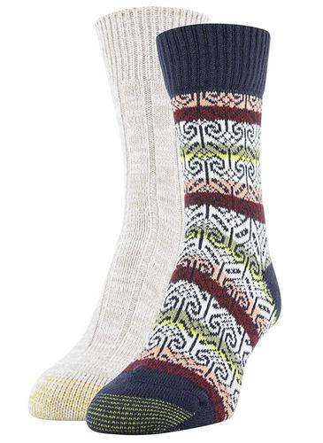 Gold Toe Women's Crew Socks, 2 Pairs ( Peacoat, Khaki Marl)