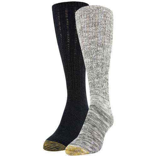 Gold Toe Women's Slouch Socks, 2 Pairs (Black/White, Black)