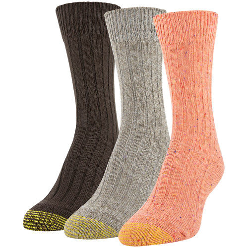 Gold Toe Women's Marled Rib Crew Socks, 3 Pairs (Bright Coral, Khaki Marl, Chocolate)