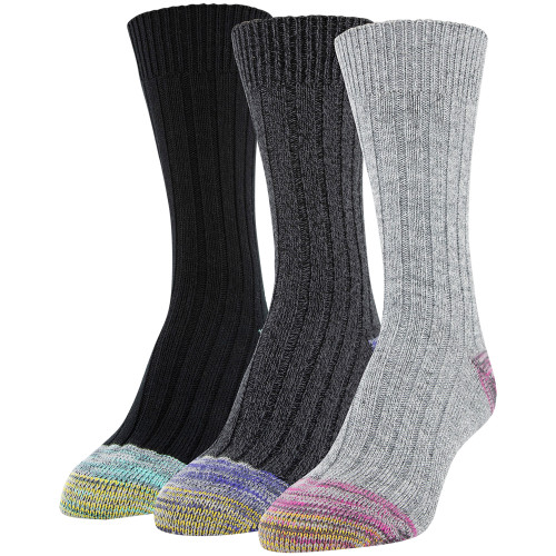 Women's Ribbed Crew Socks, 3 Pairs (Hot Pink, Royal, Jade)