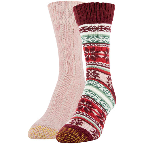 Women's Snowflake Fairisle Crew Socks, 2 Pairs (Cabernet, Blush)