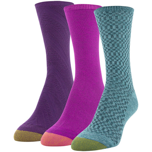 Women's Textured Crew Socks, 3 Pairs (Forest, Dark Pink, Grape)
