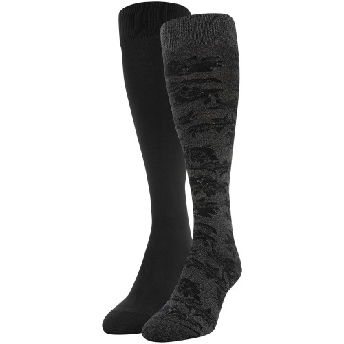 Women's Scarf Floral Knee High Socks, 2 Pairs (Charcoal, Black)