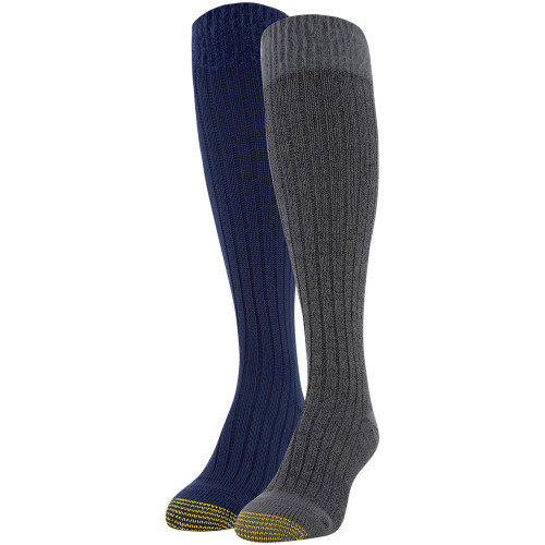 Women's Shaggy Chic Knee High Socks, 2 Pairs (Charcoal, Peacoat)