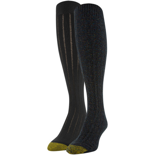 Women's Sparkle Knee High Socks, 2 Pairs (Black Cable, Black Rib)