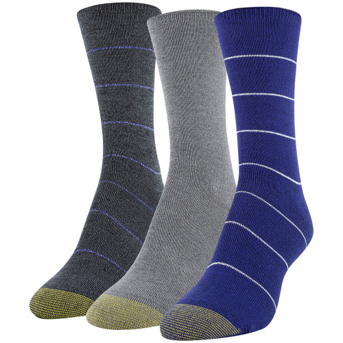 Women's Roll Top Crew Socks, 3 Pairs (Royal, Grey Marl, Charcoal)