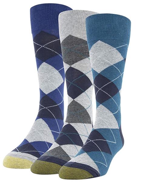 Men's Carlyle Argyle Crew Socks, 3 Pairs (Dark Turquoise/Cement/Heather Blue)